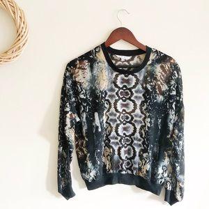 CAbi Dressed Up Sweatshirt Blouse Python Print